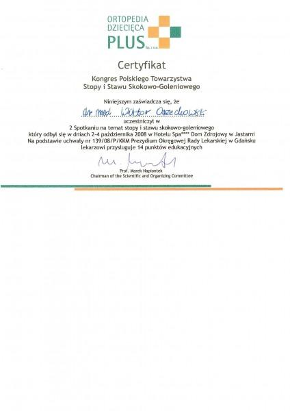 Certyfikat Dr. Med. Orzechowski Wiktor Gabinet Ortopedii